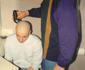 Mikey Ullom shaves my head for 1993 state finals